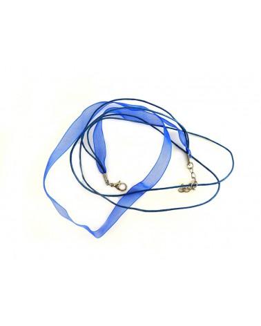 Collier organza bleu roi 44 cm