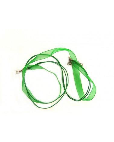 Collier organza 44 cm vert prairie