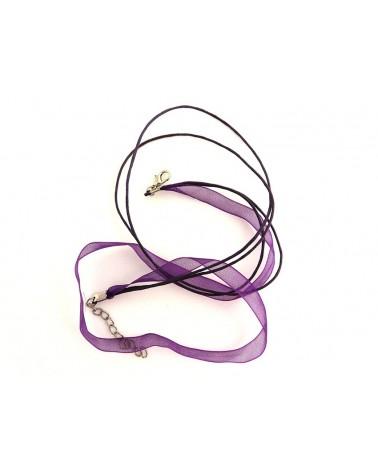 Collier organza 44 cm violet