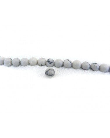 Howlite 6mm imitation blanc X 15