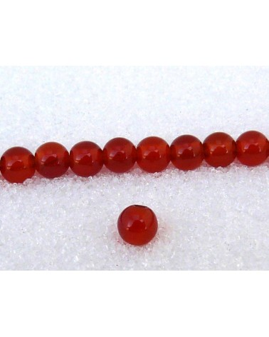 Agate lisse  Rouge 6mm grade AA X 15