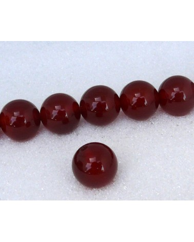 Agate lisse Rouge marron grade AA 12mm x 1