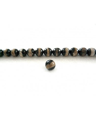 Agate Tibétaine  à facettes 10mm NOIR rayé brun x10