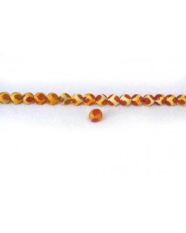 Agate Tibétaine à facettes ethnique JAUNE 8mm X 10