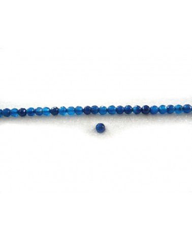 Agate bleu saphir 4mm facetée par 20
