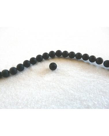 Agate Noires givrées lisses 4mm par 20