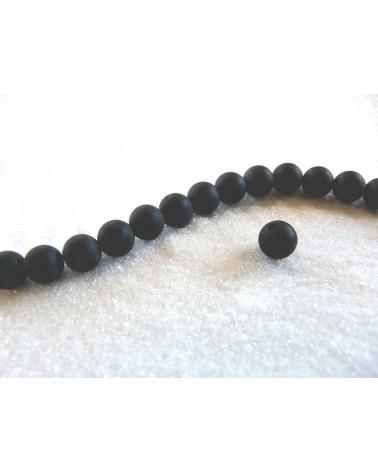 Agate Noires dépolies 6mm par 15
