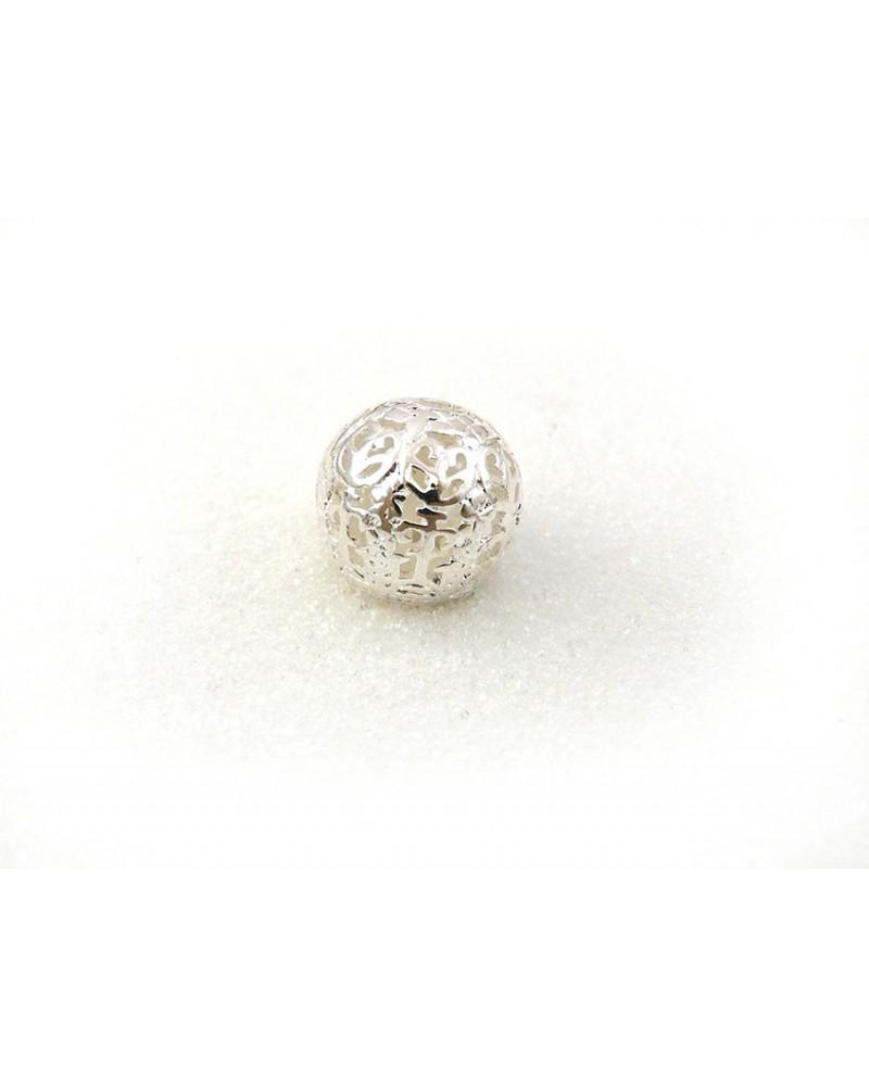 Perle Boule filigranée 14mm Argentée X 1