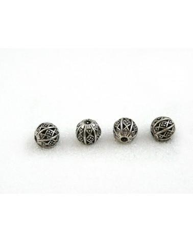 "Perle filigranée ""' calligraphie"" 9mm Argent vieilli X 4"