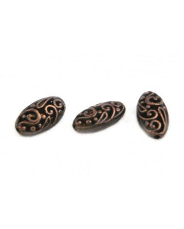 Perle filigranée 18x10mm cuivre antique X 1
