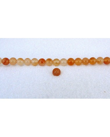 Agate lisse Grade A 6mm bicolores ocre rouge orange clair X15