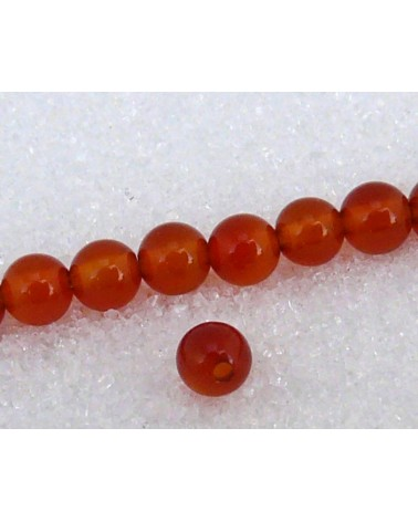 Agate lisse  Rouge orange unies 4mm grade AA x  20