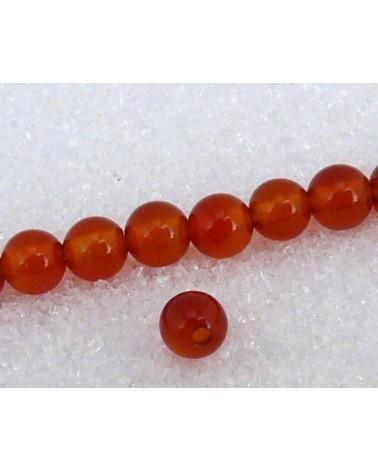 Agate lisse  Rouge orange unies 4mm grade AA x  20