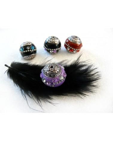 Perle d'indonésie ronde VIOLET 20 x 19 mm  strass 2 couleurs  x1