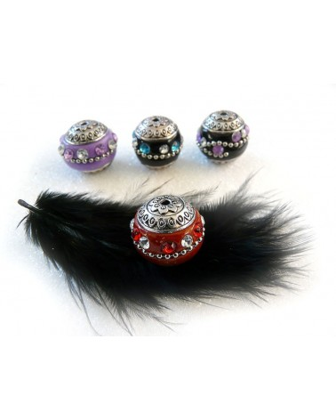 Perle d'indonésie ronde VIOLET clair 20 x 19 mm strass 2 couleurs x1