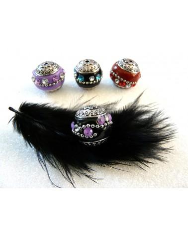 Perle d'indonésie 20mm Noir strass violet et blanc x1