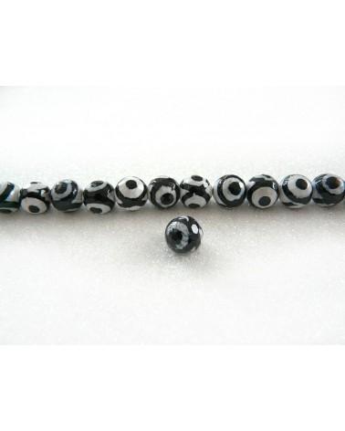 Agate Tibétaine  à Facettes 10mm  oeil noir et blanc X 10