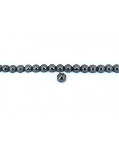 Perle Hématite Grade A lisse 12mm noir x1