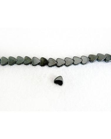 Hematite coeur 6mm Noir x 5