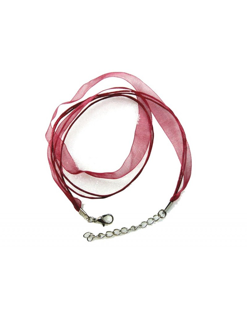 Collier organza 44 cm rouge bordeaux