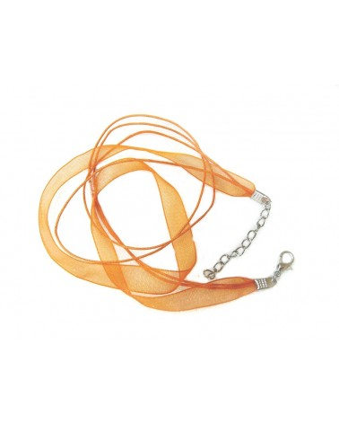 Collier organza 44 cm orange