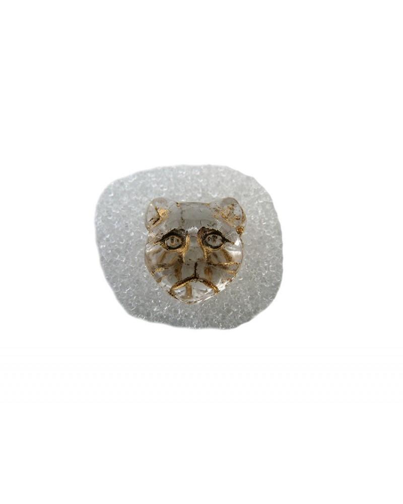 Perle CHAT en verre de Bohême CRISTAL 12x11mm