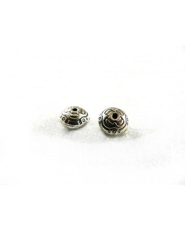Perle décorée 10x6mm ARGENT  x 1 ou par 15
