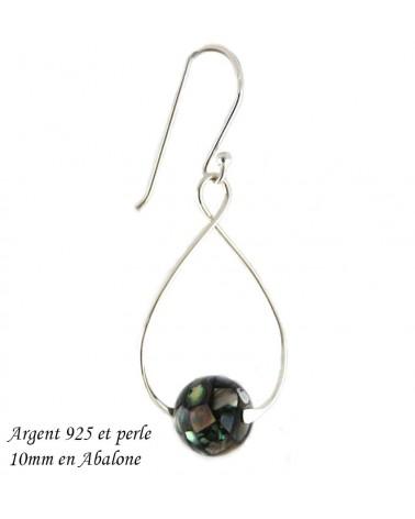 Boucles d'oreilles en Argent sterling 925 boule 10x16mm x 1 paire