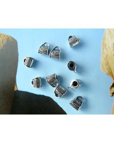 Bélière attache pendentif  cordon 2mm x 1 ou par 10 argenté vieilli