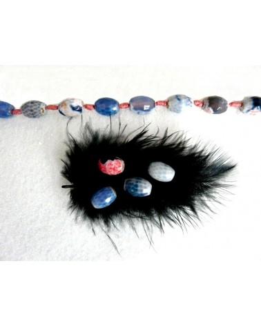 Agate de feu facettée ovale 14x10mm bleu-rose par 5