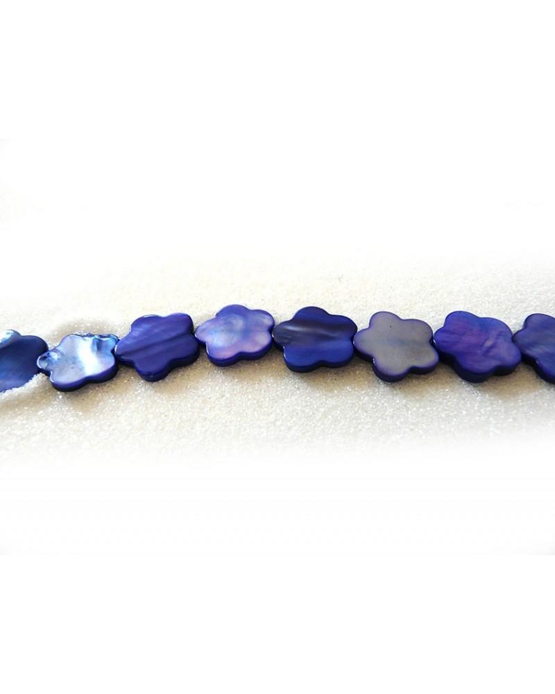 Fleur en nacre 14mm bleu x 3