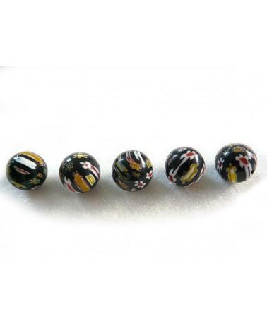 Perle en verre MILLEFIORI 18mm NOIR x1