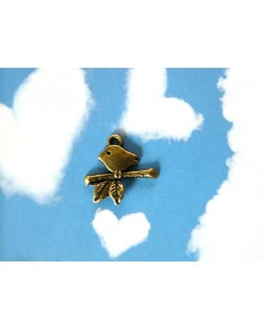 Breloque oiseau sur sa branche bronze x1 ou par 10
