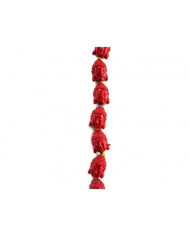 Bouddha en corail rouge 13 x 9mm  x1