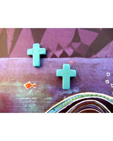 croix bleu turquoise en Howlite 16 x x12mm X1 ou par 10