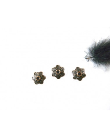 Coupelle petite fleur10.5mm cuivre antique X1 ou par 10