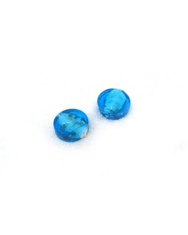 Palet Bleu-Turquoise verre et feuille d'argent et sable or16mm x 1 ou par 10