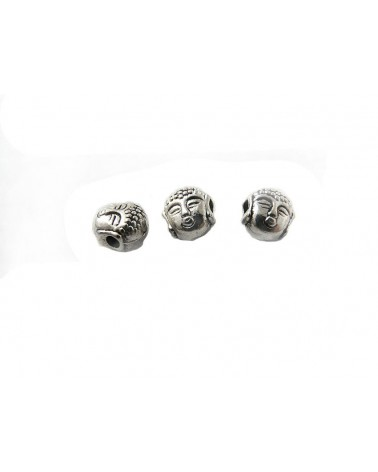 Bouddha tête 7.5mm argenté X 1