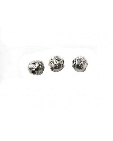 BOUDDHA 7.5mm en métal argenté  X 1