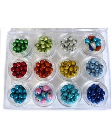 Coffret perles magiques 6mm 12 nuances. B