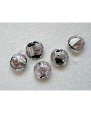 Perle plate 17mm à décor de rose et feuile d'argent x1
