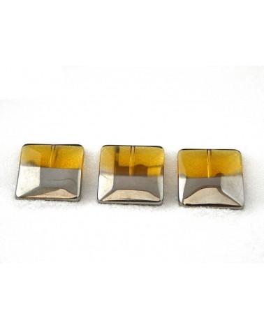 Carré plat 20mm jaune ambre plaqué platine X 1 ou par 10