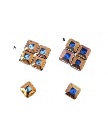 Losange plaqué verre bleu x5