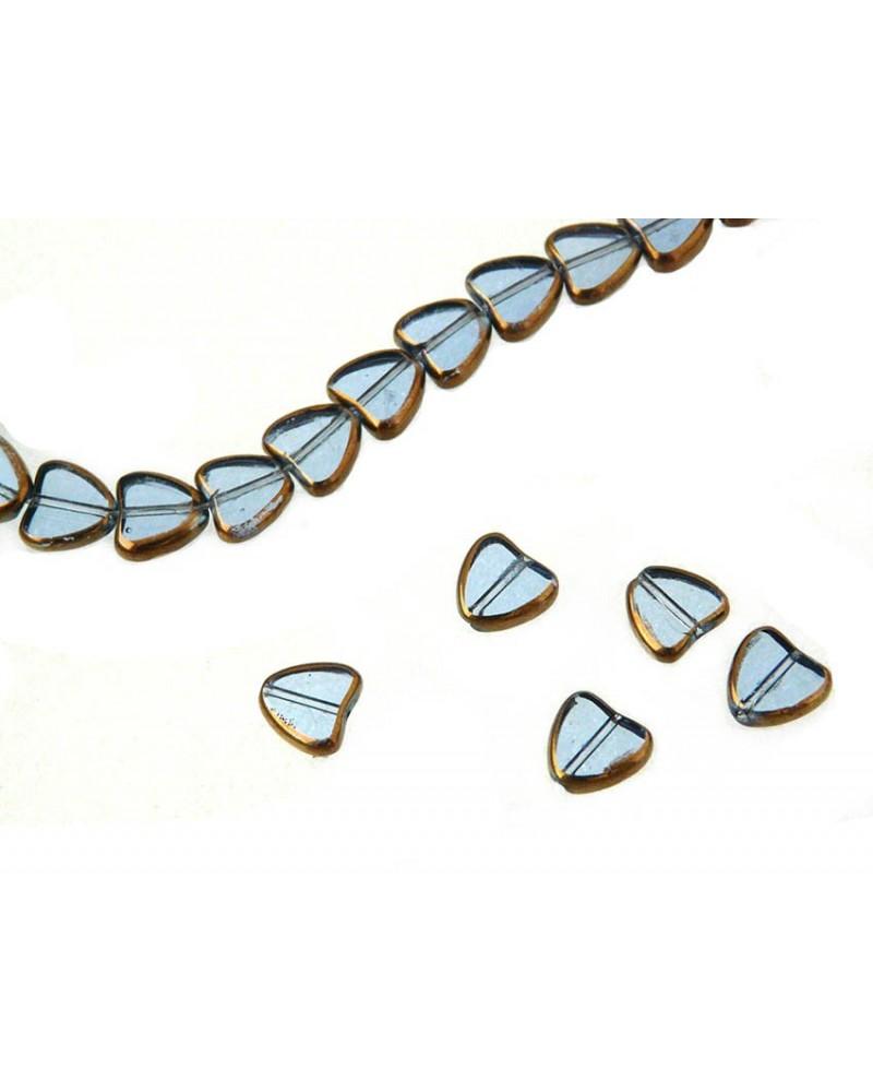 Coeur 9mm verre plaqué- bleu ciel x1