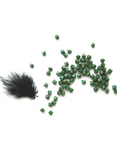 Toupies Bohême 4mm VERT -  Turquise Green Travertin x 25