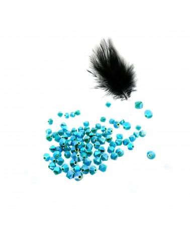 Toupies  4mm  Turquoise AB2X opaque  par 25
