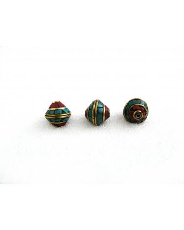 Perle tibétaine bicone 12 x12mm turquoise-corail sur laiton x1