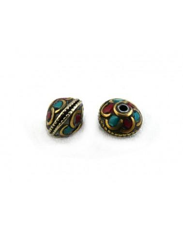 Perle tibétaine bicone 12 x10mm turquoise-corail sur laiton x1