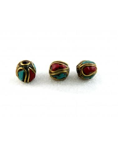 Perle tibétaine 8 x 12mm turquoise-corail sur laiton x1