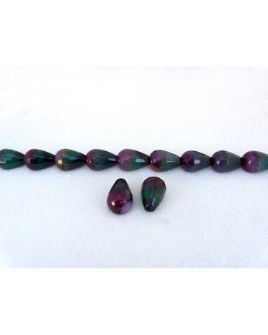 Agate-Bresil-Facettee 22MM-grade AA x 14 MM-violet-vert X 1-G155-48